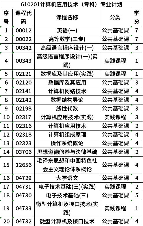 610201计算机应用技术(专科)专业计划